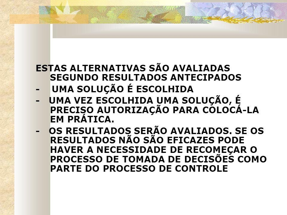 ESTAS ALTERNATIVAS SÃO AVALIADAS SEGUNDO RESULTADOS ANTECIPADOS