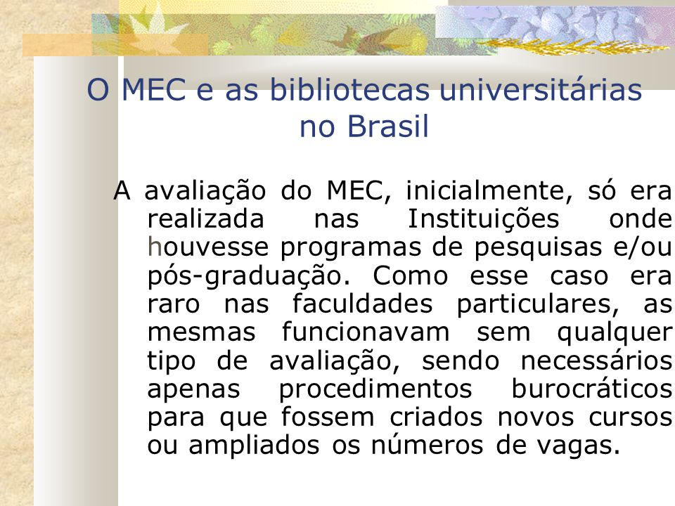 O MEC e as bibliotecas universitárias no Brasil