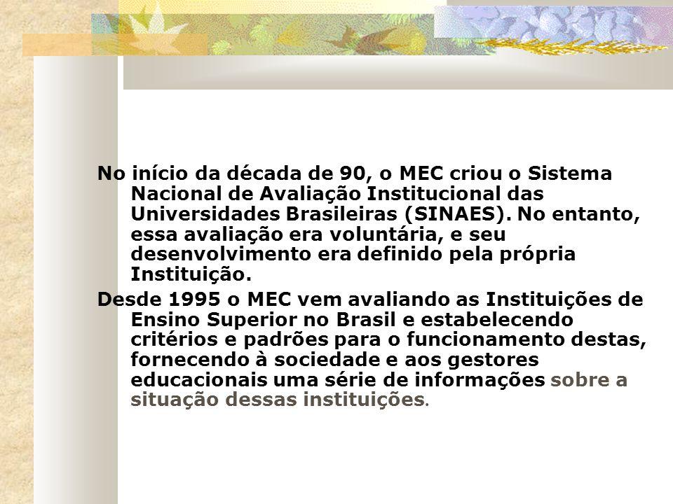 No início da década de 90, o MEC criou o Sistema Nacional de Avaliação Institucional das Universidades Brasileiras (SINAES). No entanto, essa avaliação era voluntária, e seu desenvolvimento era definido pela própria Instituição.