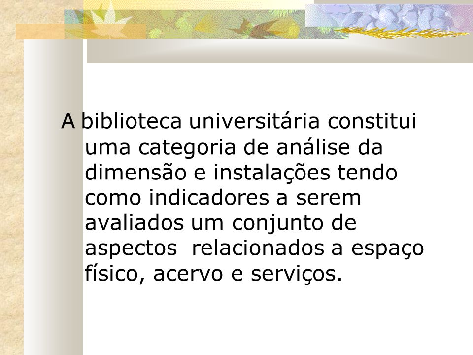 A biblioteca universitária constitui uma categoria de análise da dimensão e instalações tendo como indicadores a serem avaliados um conjunto de aspectos relacionados a espaço físico, acervo e serviços.