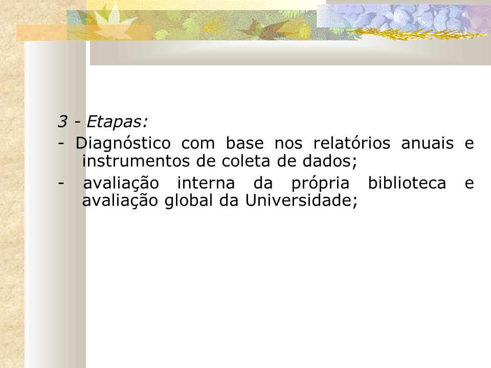 3 - Etapas: - Diagnóstico com base nos relatórios anuais e instrumentos de coleta de dados;