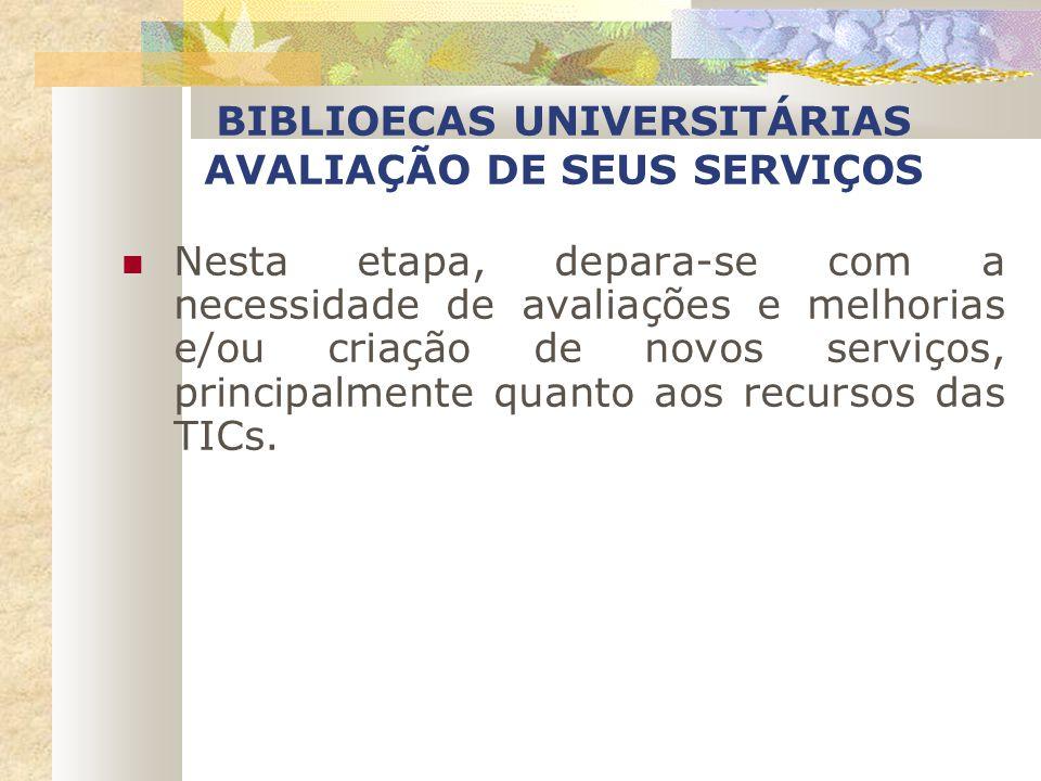 BIBLIOECAS UNIVERSITÁRIAS AVALIAÇÃO DE SEUS SERVIÇOS
