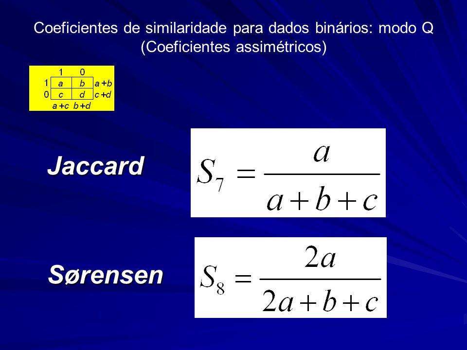 Coeficientes de similaridade para dados binários: modo Q (Coeficientes assimétricos)