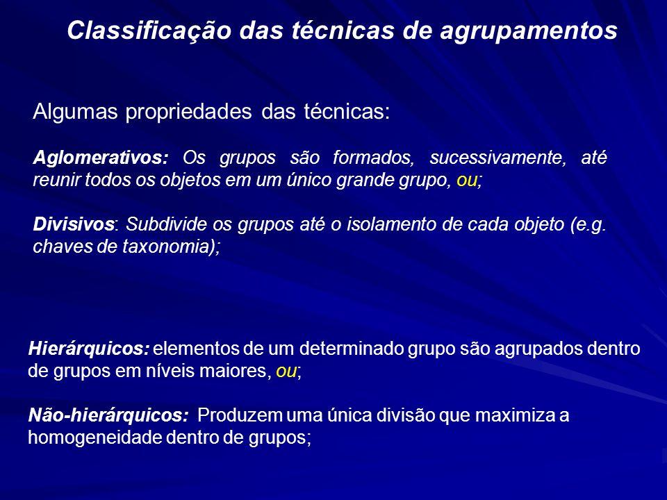 Classificação das técnicas de agrupamentos