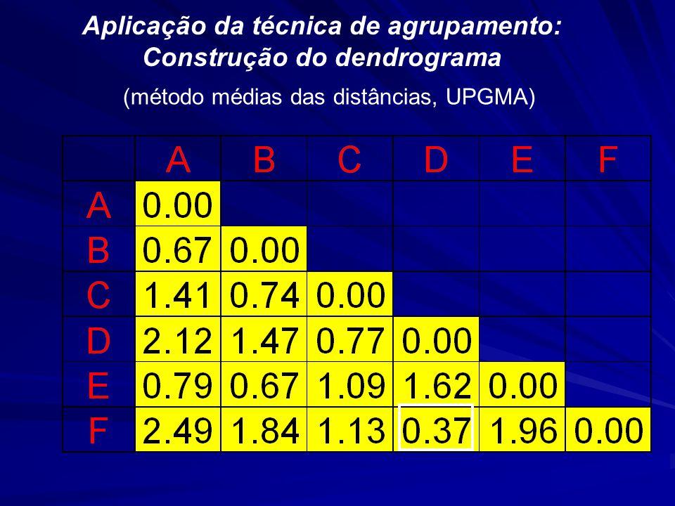 Aplicação da técnica de agrupamento: Construção do dendrograma