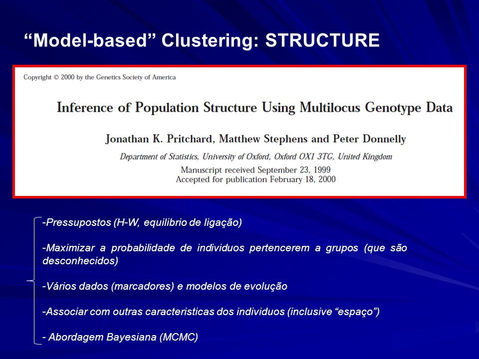 Model-based Clustering: STRUCTURE
