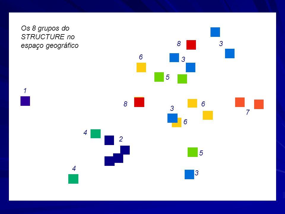 Os 8 grupos do STRUCTURE no espaço geográfico
