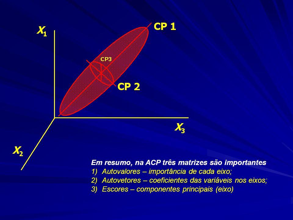 Em resumo, na ACP três matrizes são importantes