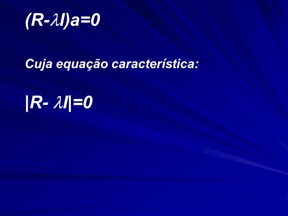 (R-I)a=0 Cuja equação característica: |R- I|=0