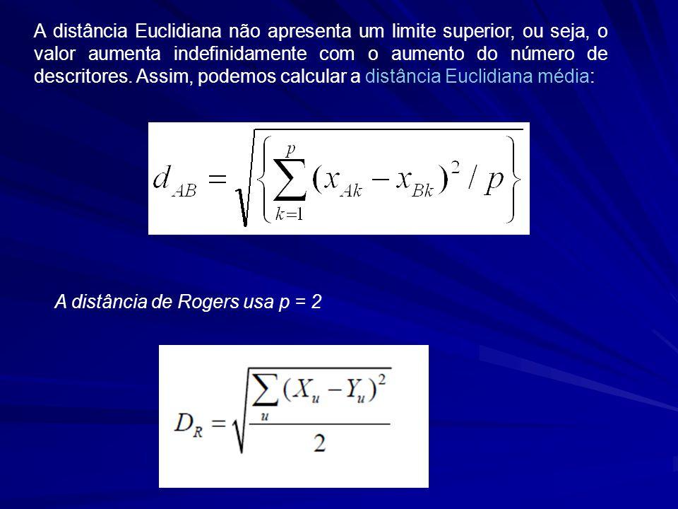 A distância Euclidiana não apresenta um limite superior, ou seja, o valor aumenta indefinidamente com o aumento do número de descritores. Assim, podemos calcular a distância Euclidiana média: