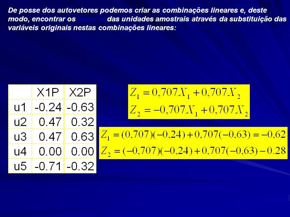 De posse dos autovetores podemos criar as combinações lineares e, deste modo, encontrar os escores das unidades amostrais através da substituição das variáveis originais nestas combinações lineares: