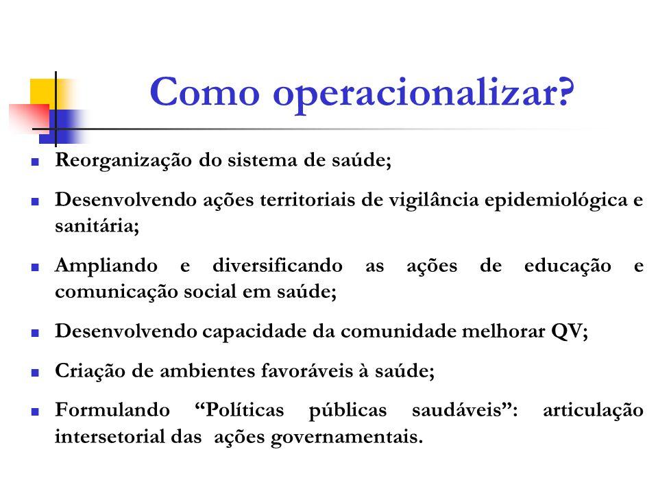 Como operacionalizar Reorganização do sistema de saúde;