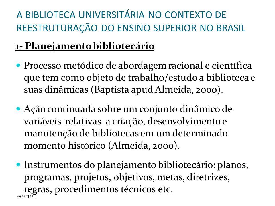 A BIBLIOTECA UNIVERSITÁRIA NO CONTEXTO DE REESTRUTURAÇÃO DO ENSINO SUPERIOR NO BRASIL