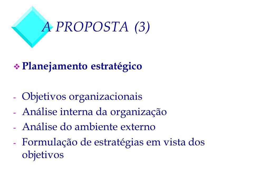 A PROPOSTA (3) Planejamento estratégico Objetivos organizacionais