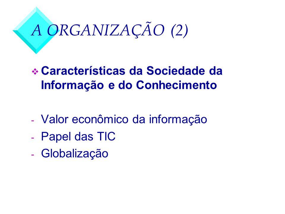 A ORGANIZAÇÃO (2) Características da Sociedade da Informação e do Conhecimento. Valor econômico da informação.