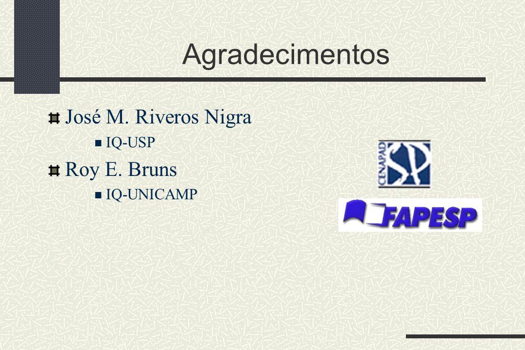 Agradecimentos José M. Riveros Nigra IQ-USP Roy E. Bruns IQ-UNICAMP