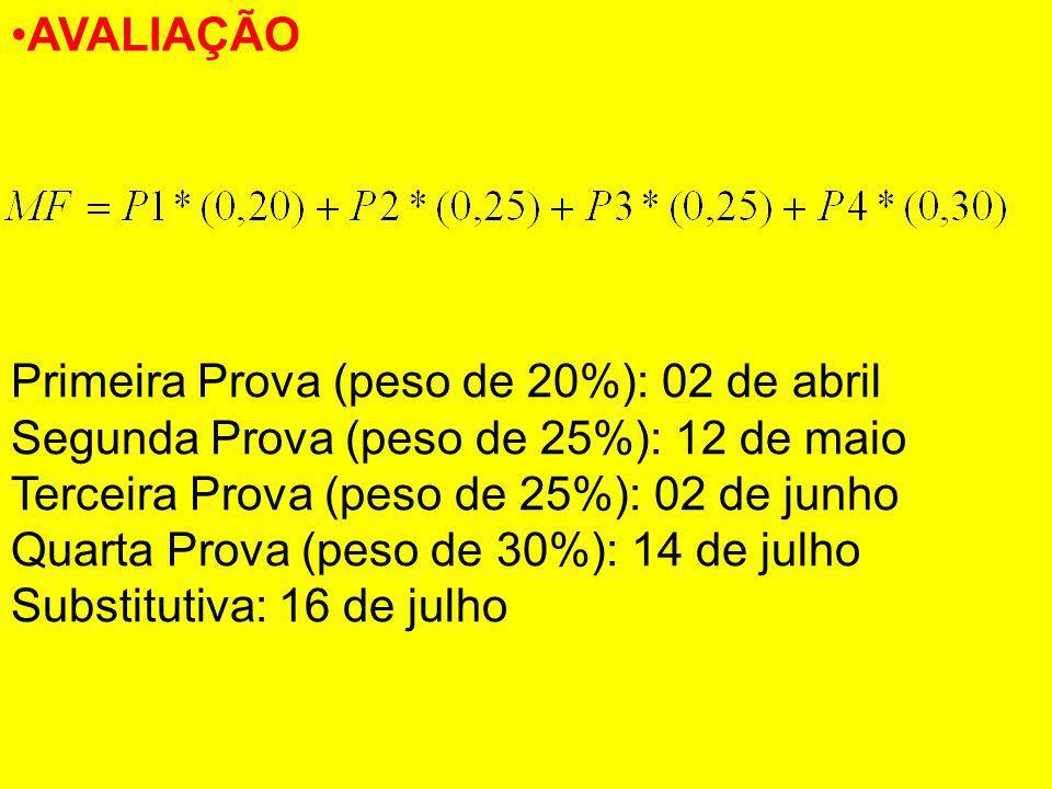 AVALIAÇÃO Primeira Prova (peso de 20%): 02 de abril. Segunda Prova (peso de 25%): 12 de maio. Terceira Prova (peso de 25%): 02 de junho.