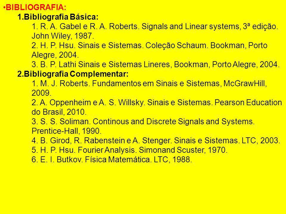BIBLIOGRAFIA: Bibliografia Básica: R. A. Gabel e R. A. Roberts. Signals and Linear systems, 3ª edição. John Wiley, 1987.
