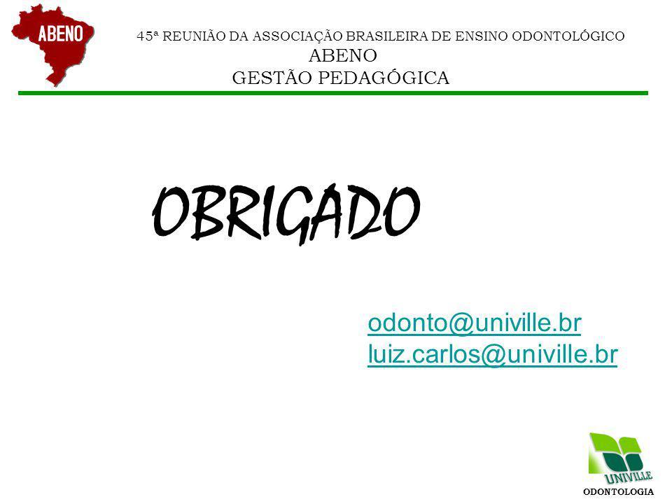 OBRIGADO odonto@univille.br luiz.carlos@univille.br GESTÃO PEDAGÓGICA