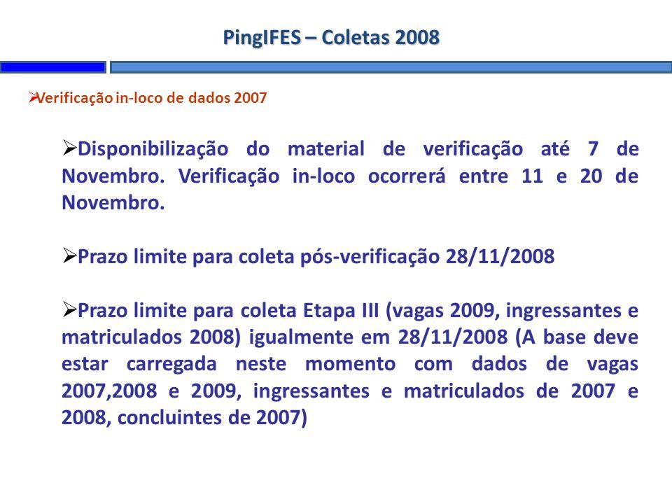 Prazo limite para coleta pós-verificação 28/11/2008