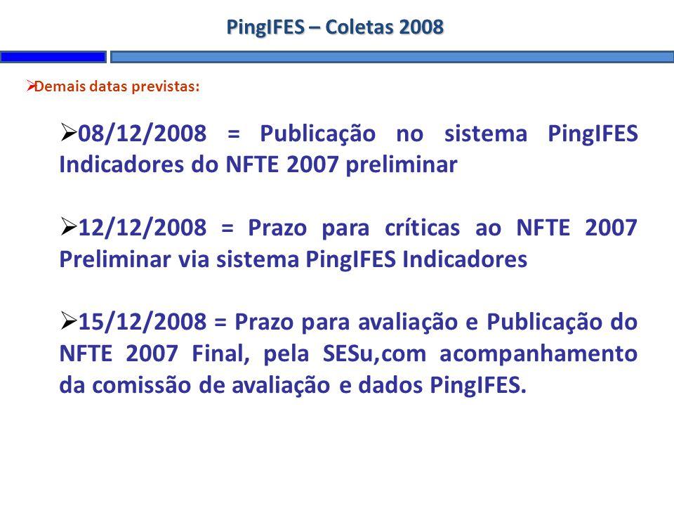 PingIFES – Coletas 2008 Demais datas previstas: 08/12/2008 = Publicação no sistema PingIFES Indicadores do NFTE 2007 preliminar.
