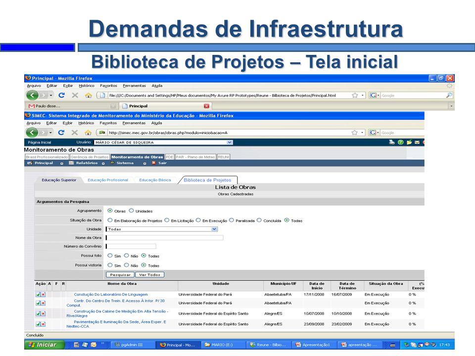Demandas de Infraestrutura Biblioteca de Projetos – Tela inicial