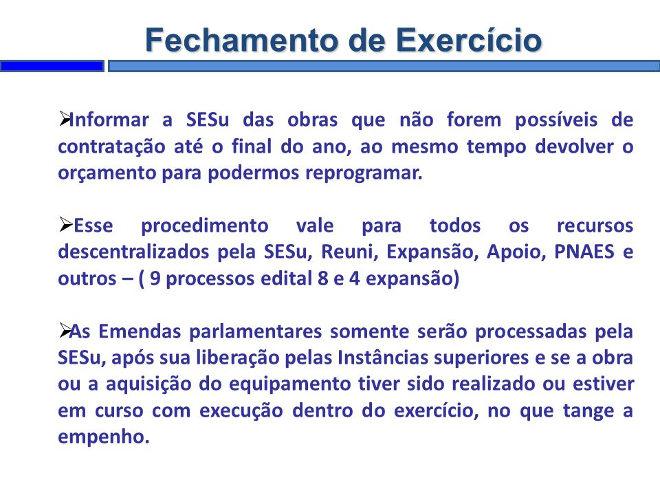 Fechamento de Exercício