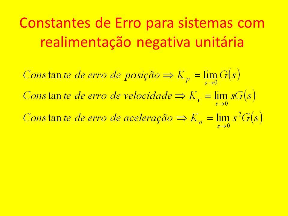 Constantes de Erro para sistemas com realimentação negativa unitária