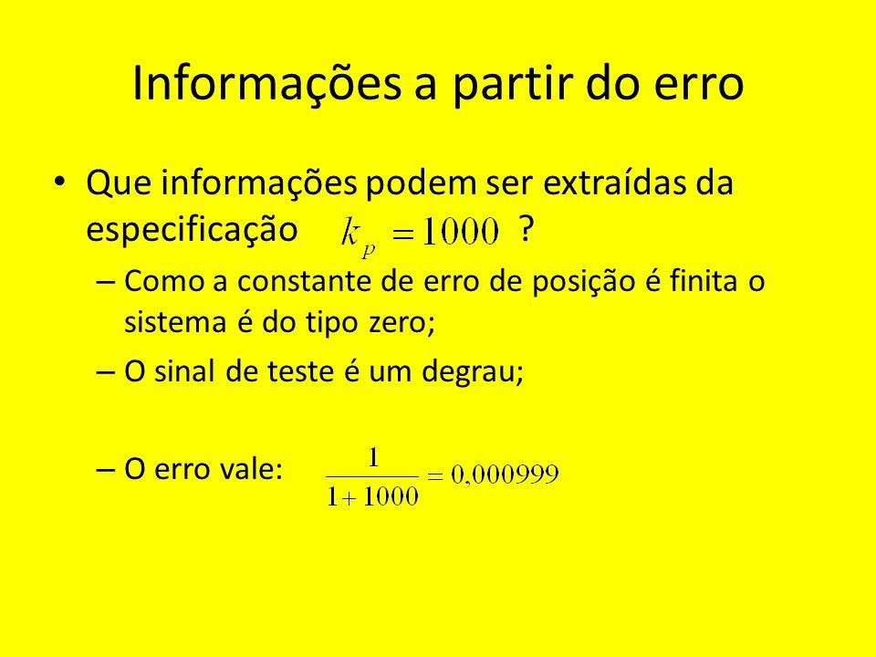 Informações a partir do erro