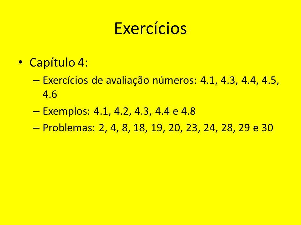 Exercícios Capítulo 4: Exercícios de avaliação números: 4.1, 4.3, 4.4, 4.5, 4.6. Exemplos: 4.1, 4.2, 4.3, 4.4 e 4.8.
