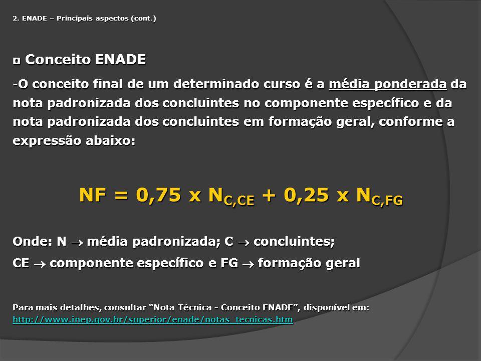 NF = 0,75 x NC,CE + 0,25 x NC,FG Conceito ENADE