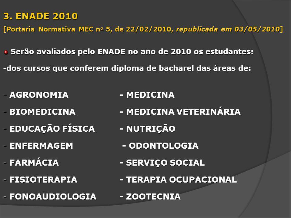 3. ENADE 2010 AGRONOMIA - MEDICINA BIOMEDICINA - MEDICINA VETERINÁRIA