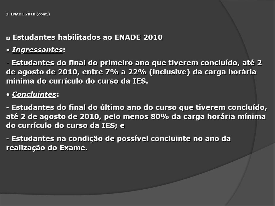 Estudantes habilitados ao ENADE 2010 Ingressantes: