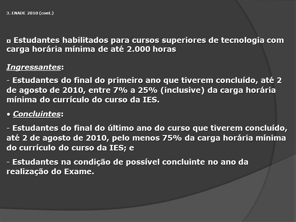 3. ENADE 2010 (cont.) Estudantes habilitados para cursos superiores de tecnologia com carga horária mínima de até 2.000 horas.