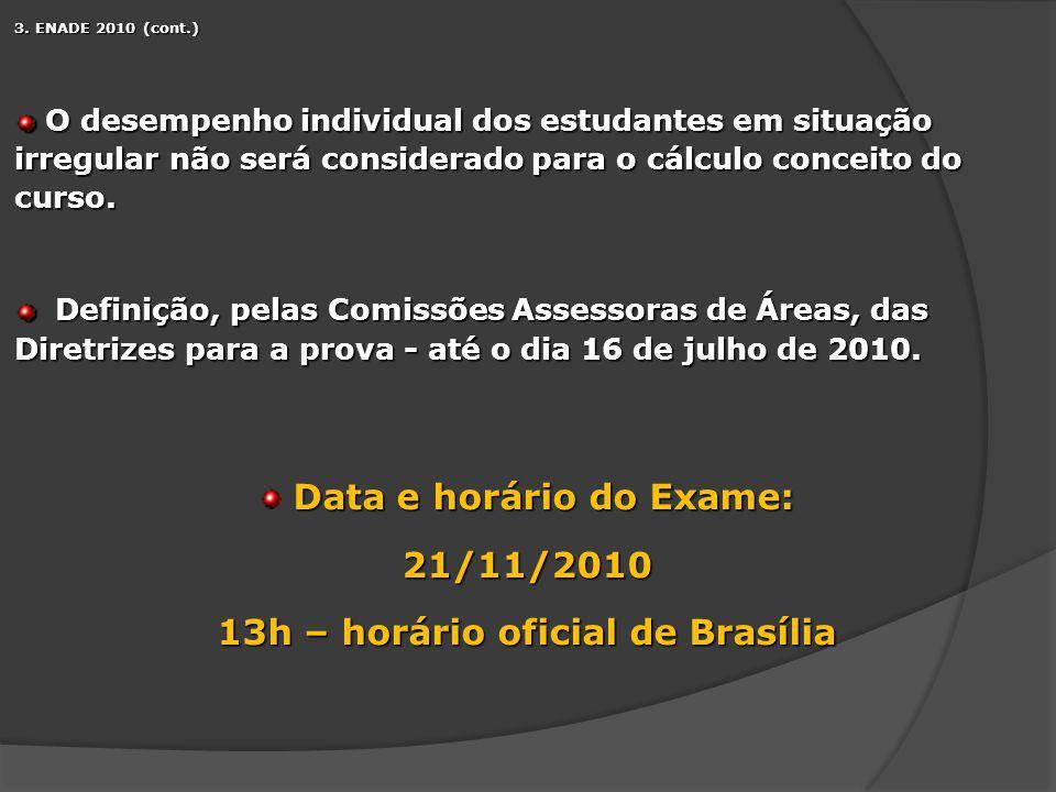 13h – horário oficial de Brasília