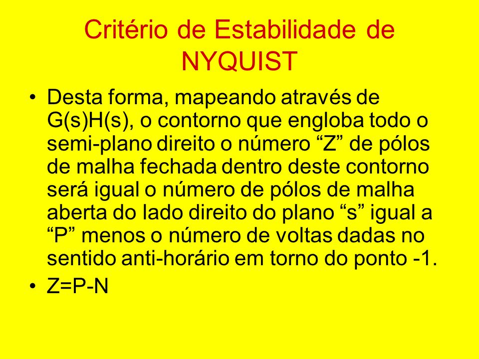 Critério de Estabilidade de NYQUIST