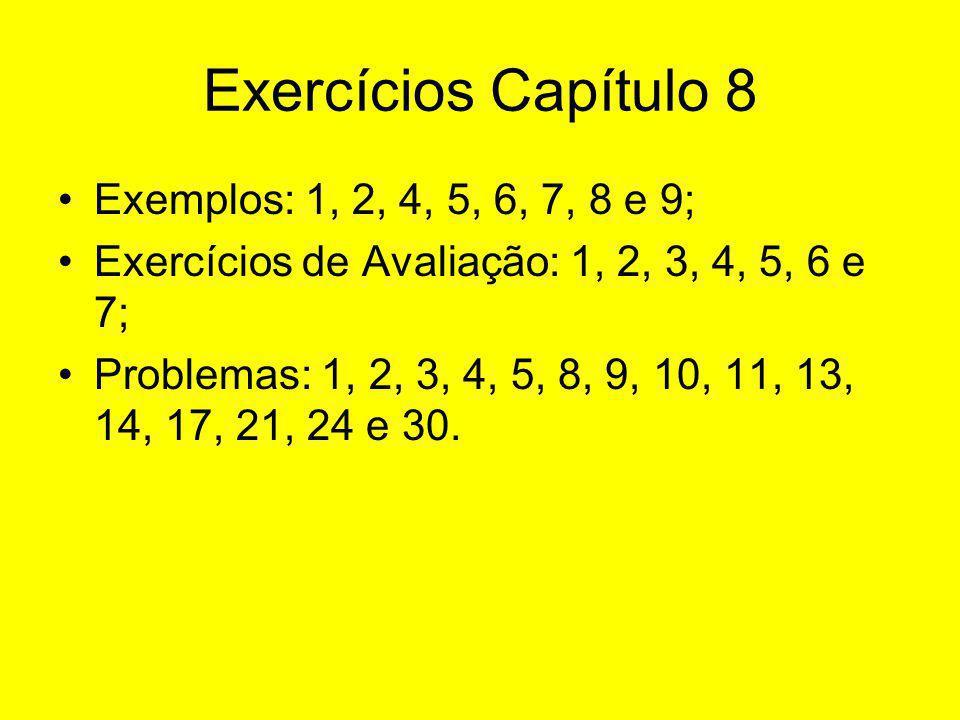 Exercícios Capítulo 8 Exemplos: 1, 2, 4, 5, 6, 7, 8 e 9;