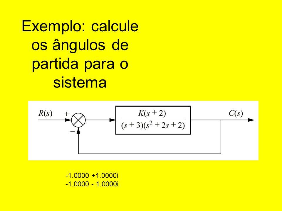 Exemplo: calcule os ângulos de partida para o sistema
