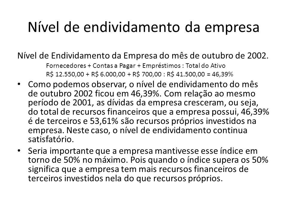 Nível de endividamento da empresa
