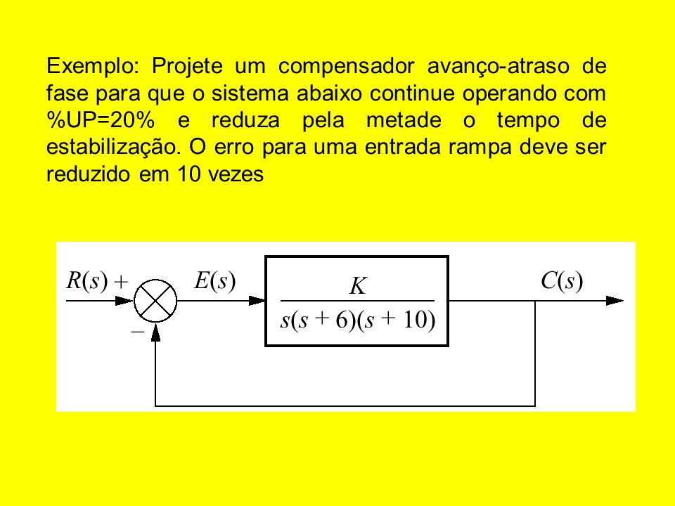 Exemplo: Projete um compensador avanço-atraso de fase para que o sistema abaixo continue operando com %UP=20% e reduza pela metade o tempo de estabilização.