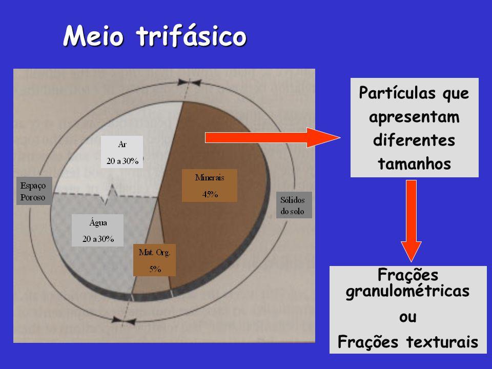 Partículas que apresentam diferentes tamanhos Frações granulométricas