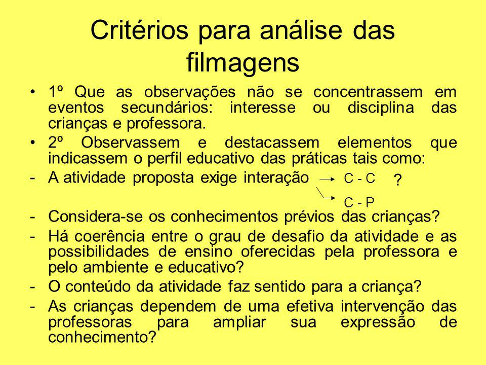 Critérios para análise das filmagens