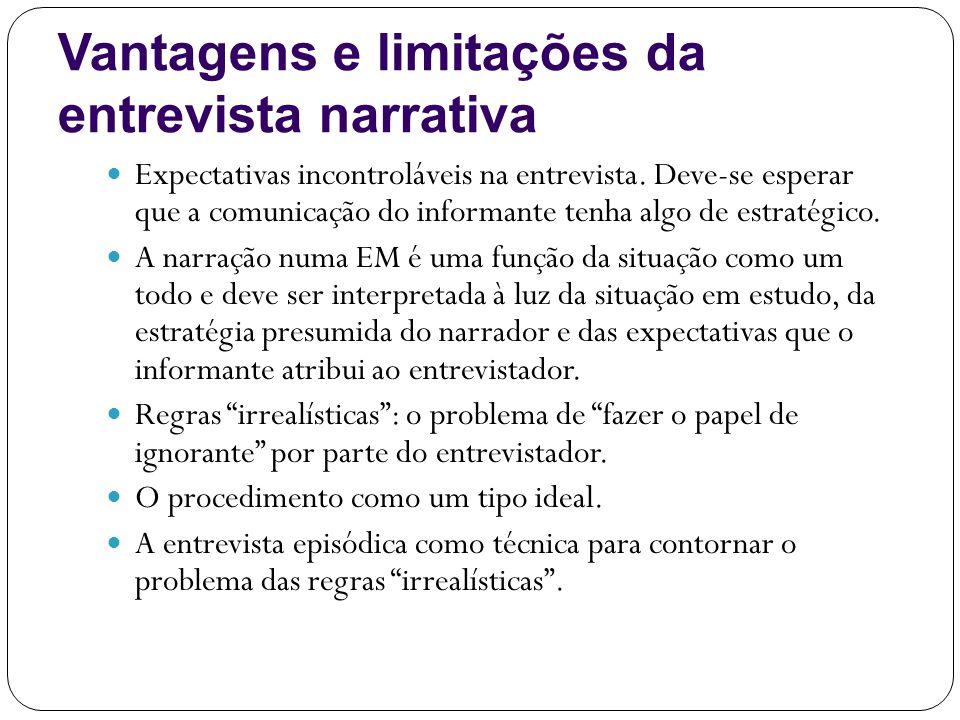 Vantagens e limitações da entrevista narrativa