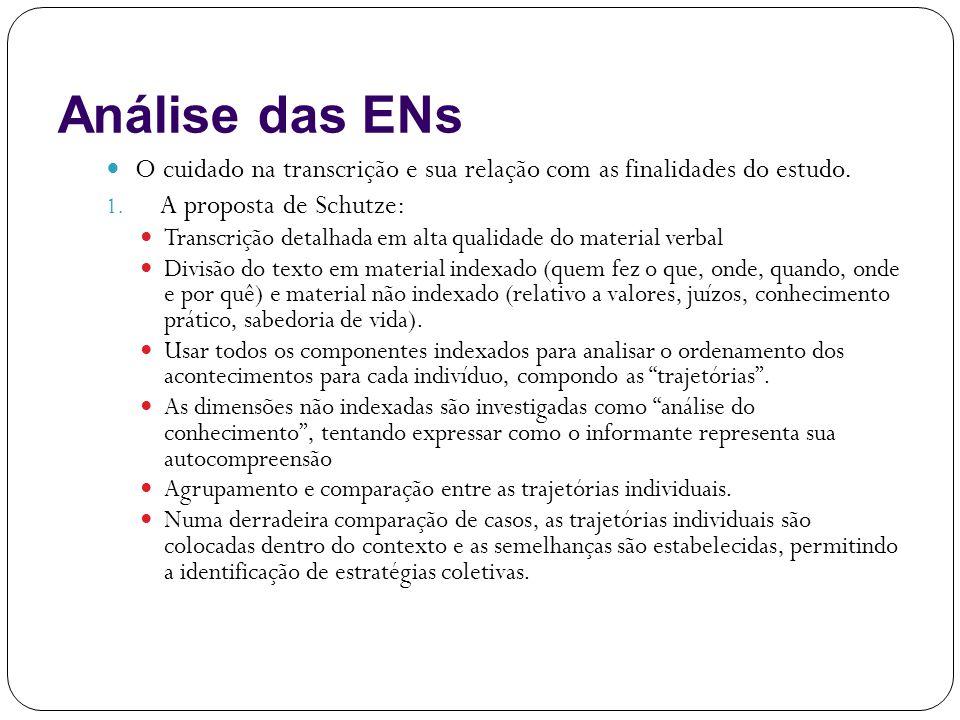 Análise das ENs O cuidado na transcrição e sua relação com as finalidades do estudo. A proposta de Schutze: