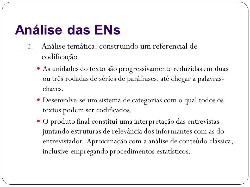 Análise das ENs Análise temática: construindo um referencial de codificação.