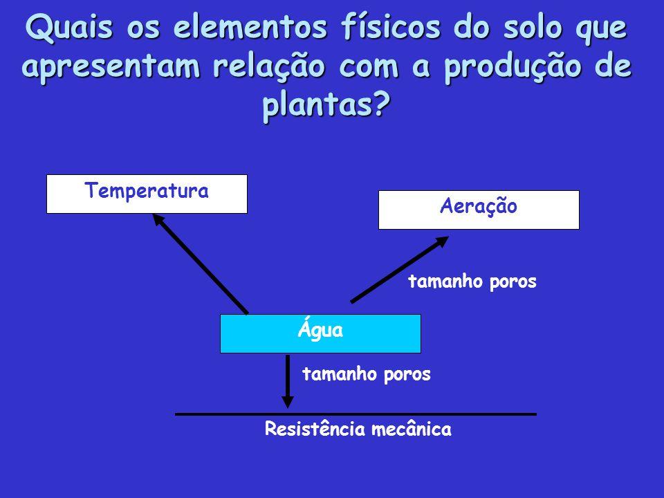 Quais os elementos físicos do solo que apresentam relação com a produção de plantas