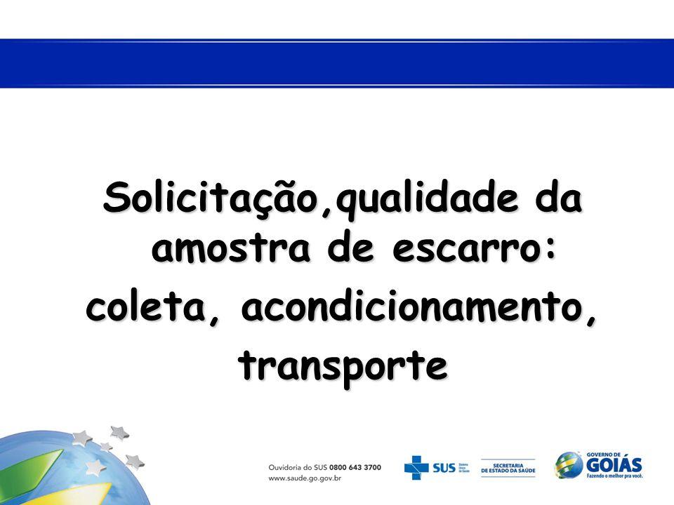 Solicitação,qualidade da amostra de escarro: coleta, acondicionamento, transporte