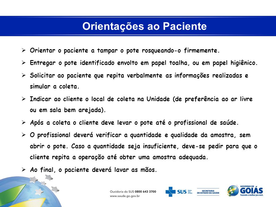 Orientações ao Paciente