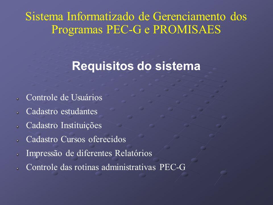 Sistema Informatizado de Gerenciamento dos Programas PEC-G e PROMISAES