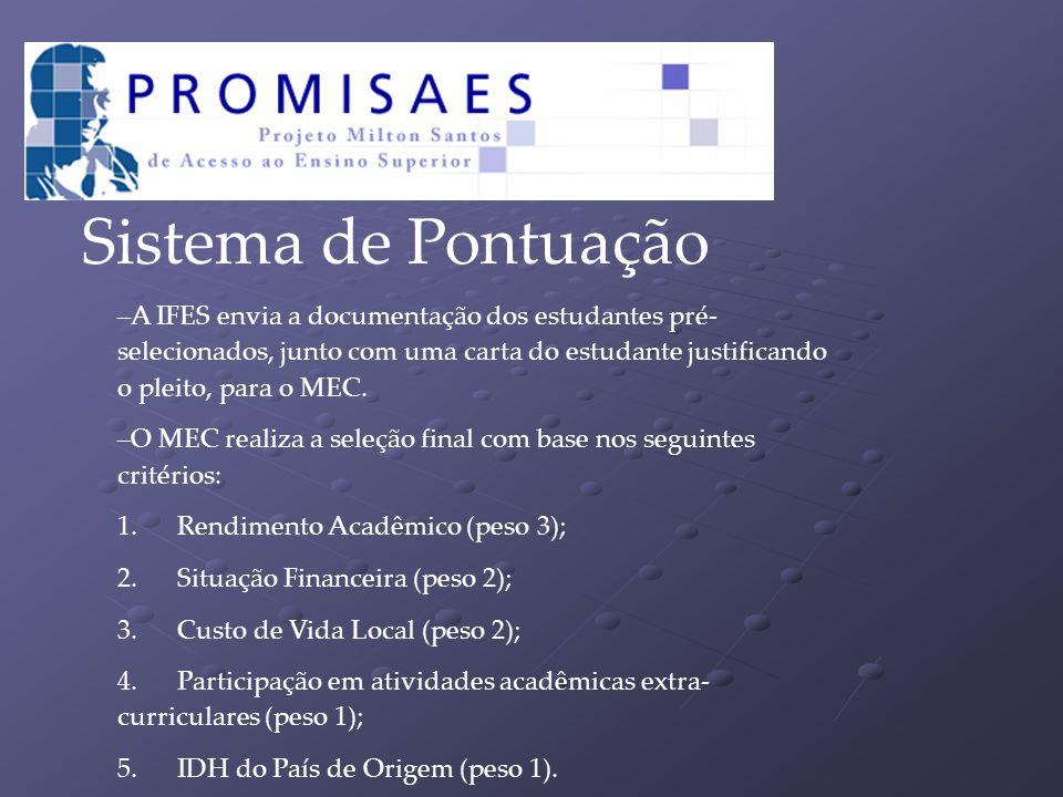 Sistema de Pontuação A IFES envia a documentação dos estudantes pré-selecionados, junto com uma carta do estudante justificando o pleito, para o MEC.